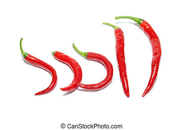 Row of red hot chili peppers