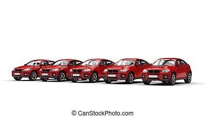 Row of Red Modern SUVs