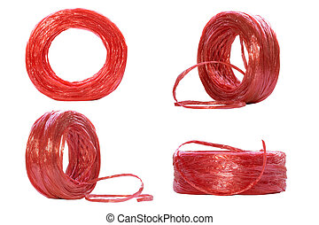 Row of red plastic rope