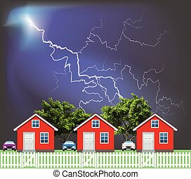 Row of residential houses with Thunderstorm