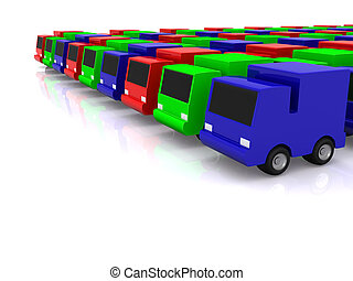 row of RGB cars. 3D
