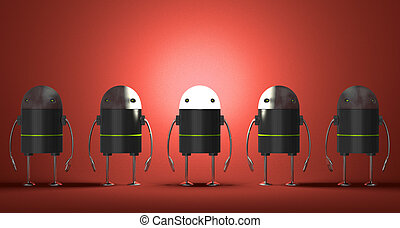 Row of robots, one of them with glowing head on red textured...