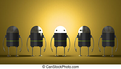 Row of robots, one of them with glowing head on yellow...
