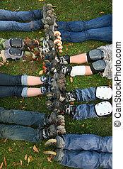 row of rollers legs