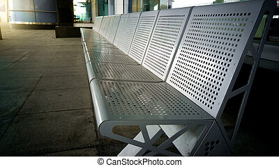 Row of seats at the transport station