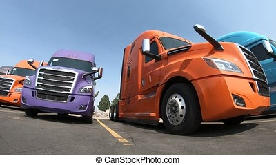 Row of Semi-Trucks at Dealership - Low Angle Clockwise...