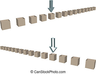 Row of shipping boxes arrows as borders - Two rows of empty...