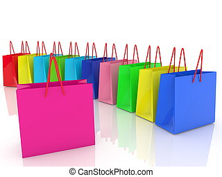 Row of shopping bags on white.3d illustration