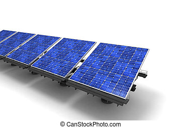 Row of Solar panels against a white background