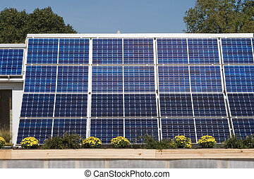 Row of Solar Panels on Roof Against Blue Sky
