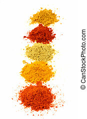 Row of spicy powders used in cook