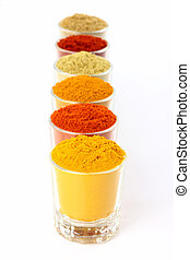 Row of spicy powders