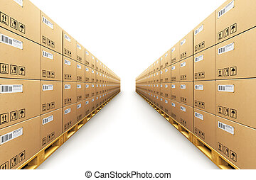 Row of stacked cardbaord boxes on shipping pallets -...
