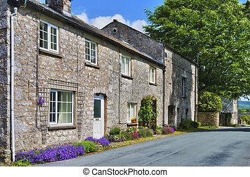 Row of stone cottages