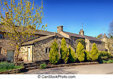 Row of stone cottages in Wycoller.