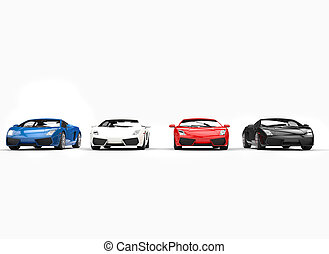 Row Of Supercars Front View