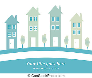 Row of tall houses design. - Row of tall houses with space...