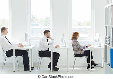 Row of telemarketers