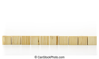Row of ten blank wooden blocks on a white background with ...