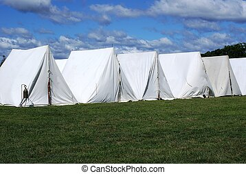 Row of tents. - Revolutionary War reenactment campsite.