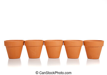 Row of Terra Cotta flower pots - A horizontal row of empty...