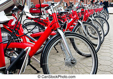 row of the bicycles