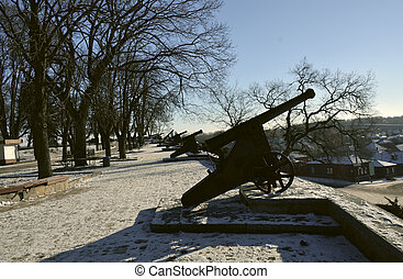 Row of the old cannons in the Val park, Chernigov