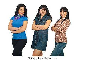 Row of three beautiful women