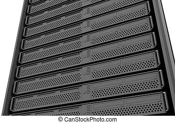 Row of tower servers