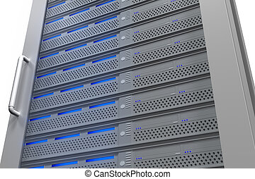 Row of tower servers with blue lights