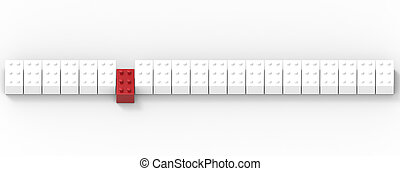 Row of toy blocks isolated on white background. 3D Illustration.