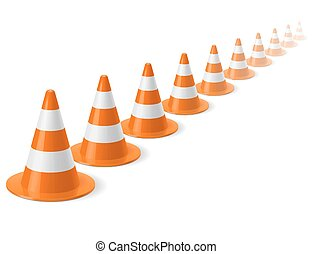 Row of traffic cones - Row of white and orange traffic cones...