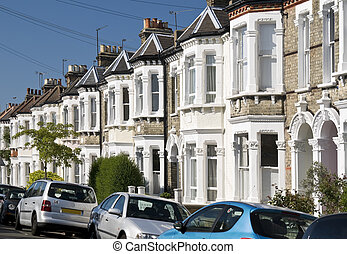 Terraced Houses - Row of Typical English Terraced Houses at...