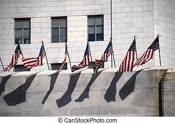 Row of US Flags
