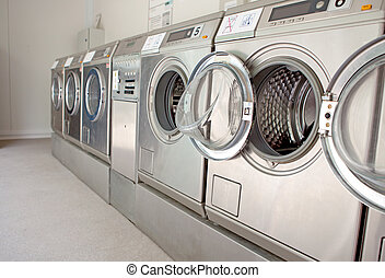 row of washing machines in closeup