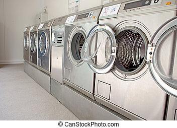 row of washing machines in closeup