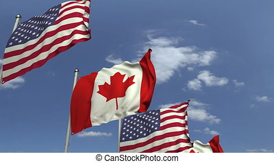 Row of waving flags of Canada and the USA, loopable 3D animation