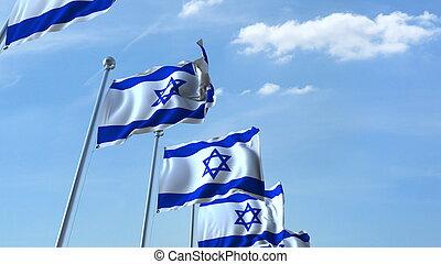 Row of waving flags agaist blue sky