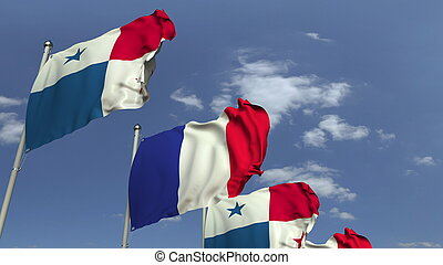 Row of waving flags of Panama and France, 3D rendering