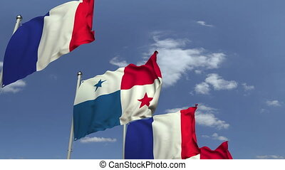 Row of waving flags of Panama and France, loopable 3D...