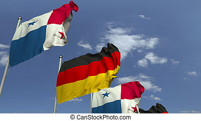 Row of waving flags of Panama and Germany, 3D rendering