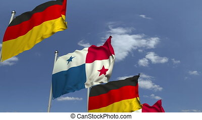 Row of waving flags of Panama and Germany, loopable 3D...