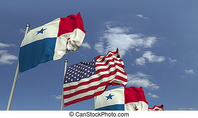 Row of waving flags of Panama and the USA, 3D rendering