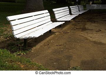 Row of White Benches