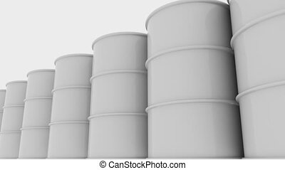 Row of white glossy barrels. 4K seamless loopable animation,...