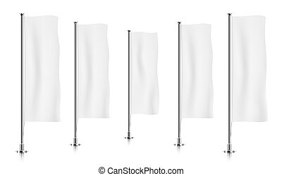 Row of white vertical banner flags. - Five white vertical...