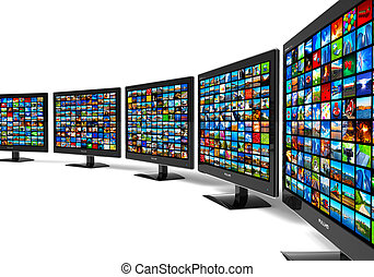 Row of widescreen HD displays wtih multiple images isolated...