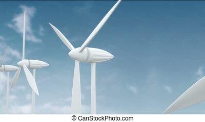 Row of wind power generators on blue background
