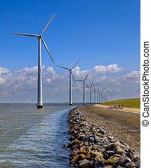 Row of wind turbines along the coast