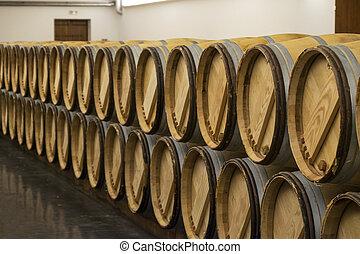 Row of wine barrels